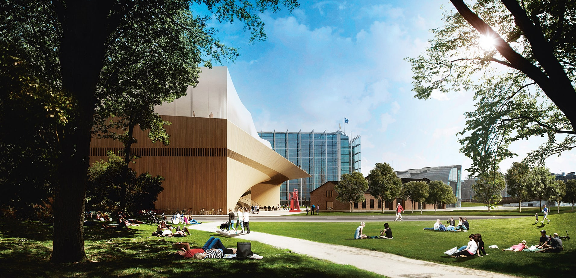 The Color Club - Helsinki Central Library by ALA park view © ALA Architects Ltd 1