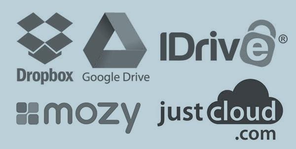 cloud storage options, dropbox, google drive, idrive, mozy, just cloud.